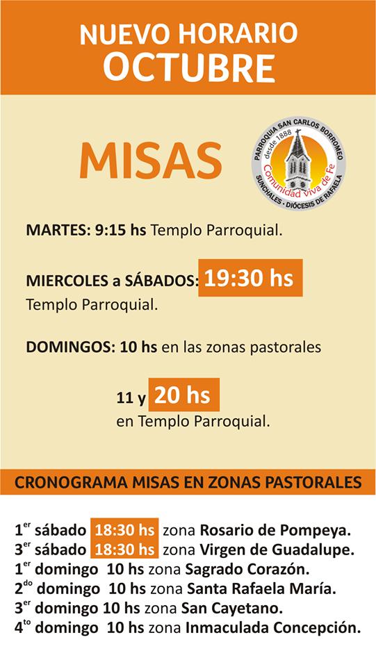 Octubre, nuevos horarios de Misa