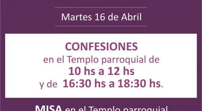 Martes Santo 2019 – Horarios y confesiones